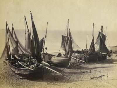 Fishing Boats Pulled Up onto the Beach at Shoreham-By-Sea, C.1880--Photographic Print