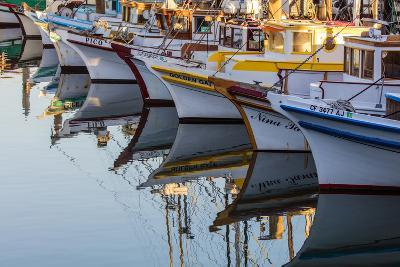 Fishing Boats Reflect in Morning Light in Harbor in Fisherman's Wharf in San Francisco, California-Chuck Haney-Photographic Print