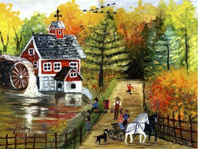 Fishing by the Old Grist Mill-Cheryl Bartley-Giclee Print