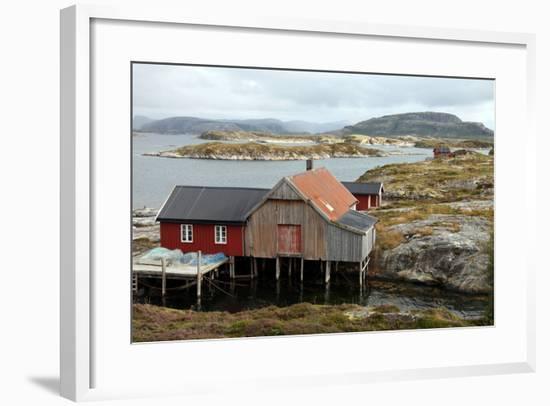 Fishing Cabin on the Island of Villa Near Rorvik, West Norway, Norway, Scandinavia, Europe-David Lomax-Framed Photographic Print