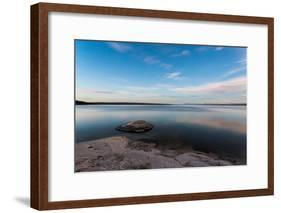 Fishing Cone Jutting Out Into Yellowstone Lake Below Stars, Yellowstone National Park, Wyoming-Mike Cavaroc-Framed Photographic Print