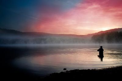 Fishing Early In The Morning-Val Thoermer-Art Print