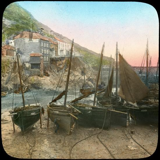 Fishing Fleet at Low Tide, Polperro, Cornwall, Late 19th or Early 20th Century--Giclee Print