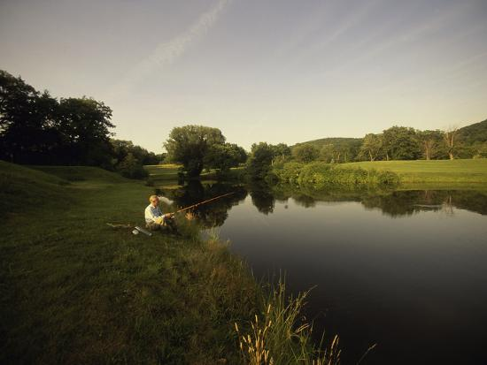 Fishing in a Peaceful Setting--Photographic Print