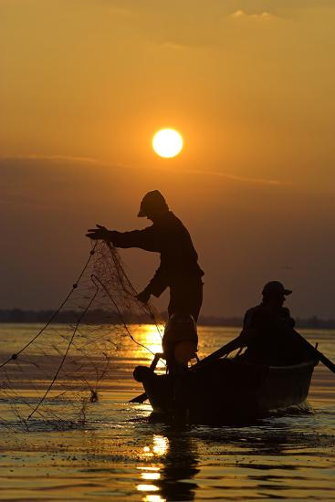 Fishing in the Danube Delta, Casting Nets During Sunset on a Lake, Romania-Martin Zwick-Photographic Print
