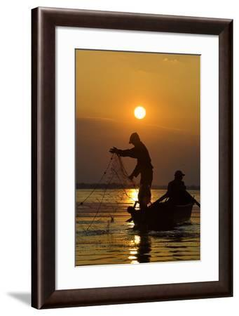 Fishing in the Danube Delta, Casting Nets During Sunset on a Lake, Romania-Martin Zwick-Framed Photographic Print