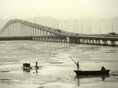 Fishing Near Bridge, Macau, China-Kindra Clineff-Photographic Print