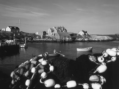 Fishing Nets and Houses at Harbor, Peggy's Cove, Nova Scotia, Canada-Greg Probst-Photographic Print