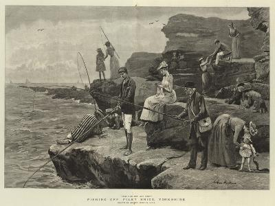 Fishing Off Filey Brigg, Yorkshire-Arthur Hopkins-Giclee Print