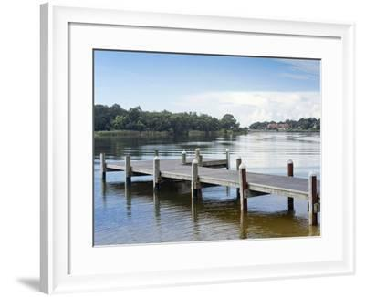 Fishing Pier and Boat Launch in Bayview Park on Bayou Texar in Pensacola, Florida in Blue Early Mor-forestpath-Framed Photographic Print