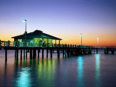 Fishing Pier at Sunrise, Fort de Soto Park, FL-David Davis-Photographic Print