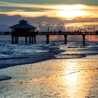 Fishing Pier Fort Myers Beach at Sunset-Philippe Hugonnard-Photographic Print