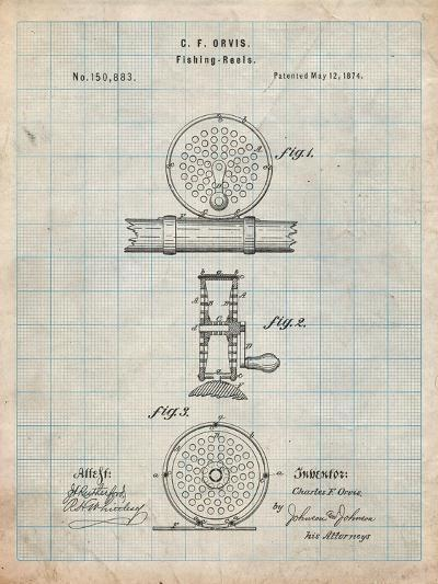 Fishing Reel Patent-Cole Borders-Art Print