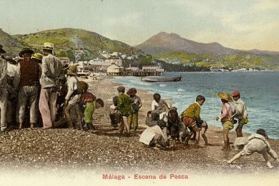 Fishing Scene, Malaga, Spain--Photographic Print