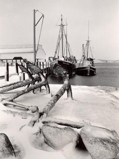 Fishing Ships Anchored at Dock During Winter on Martha's Vineyard-Alfred Eisenstaedt-Photographic Print