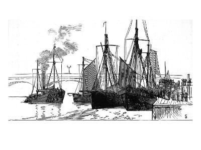 Fishing Smacks at Billingsgate, London, 1882--Giclee Print