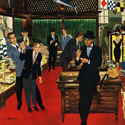 """""""Fishing Tackle for the Discrimnating Gent"""", April 26, 1958-George Hughes-Giclee Print"""