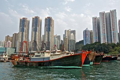 Fishing Trawlers at Anchor in Aberdeen Harbor, Hong Kong-Richard Wright-Photographic Print
