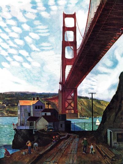 """""""Fishing Under the Golden Gate"""", November 16, 1957-John Falter-Premium Giclee Print"""