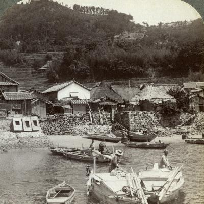 Fishing Village of Obatake on the Inland Sea, Looking North to the Terraced Rice Fields, Japan-Underwood & Underwood-Photographic Print