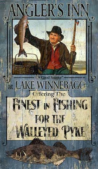 Fishing Walleye--Wood Sign