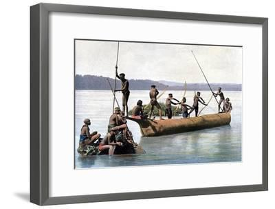 Fishing with a Bow, Andaman and Nicobar Islands, Indian Ocean, C1890- Gillot-Framed Giclee Print