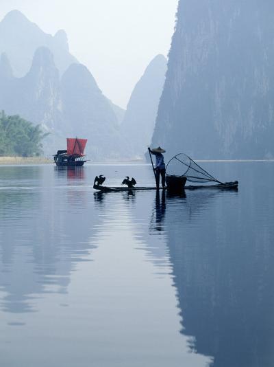Fishing with Cormorants, Li River, China-Inga Spence-Photographic Print
