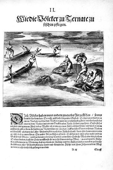 Fishing with Indians, 1606-Theodore de Bry-Giclee Print