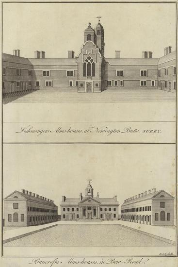 Fishmongers' Almshouses, Newington Butts and Bancroft's Almshouses, Bow Road, London--Giclee Print