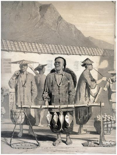 Fishmongers, Victoria Street, Hong Kong, China, 19th Century-M & N Hanhart-Giclee Print