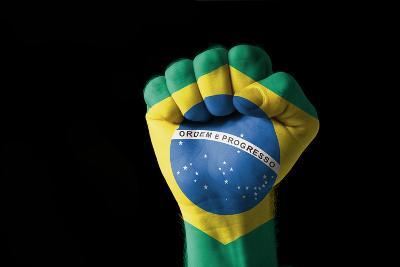 Fist Painted In Colors Of Brazil Flag-vepar5-Photographic Print