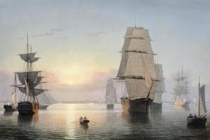 Boston Harbor, Sunset, 1850-55 by Fitz Henry Lane