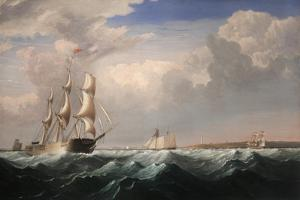 Sailing Ships Off the New England Coast, C.1855 by Fitz Henry Lane