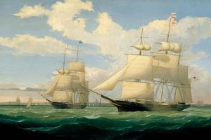 The Ships 'Winged Arrow' and 'Southern Cross' in Boston Harbour, 1853 by Fitz Henry Lane