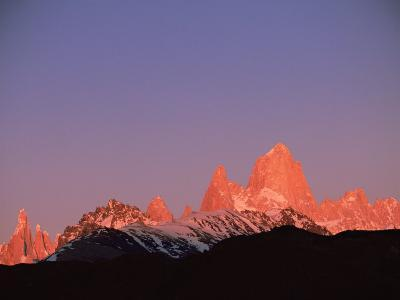 Fitzroy Massif Peak at Sunset, Andes, Patagonia, Argentina, South America-Pete Oxford-Photographic Print