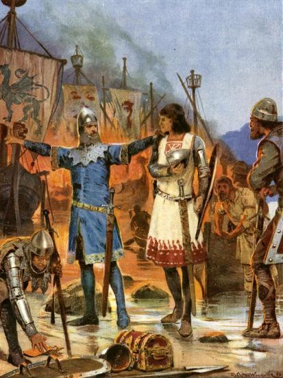 Fitzstephen Burns His Boats, 1169-Richard Caton Woodville II-Giclee Print