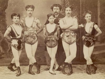 Five Acrobats Pose with Legs Crossed--Photographic Print