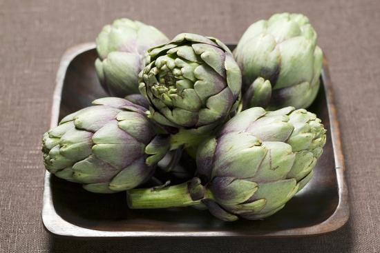 Five Artichokes in Bowl-Foodcollection-Photographic Print