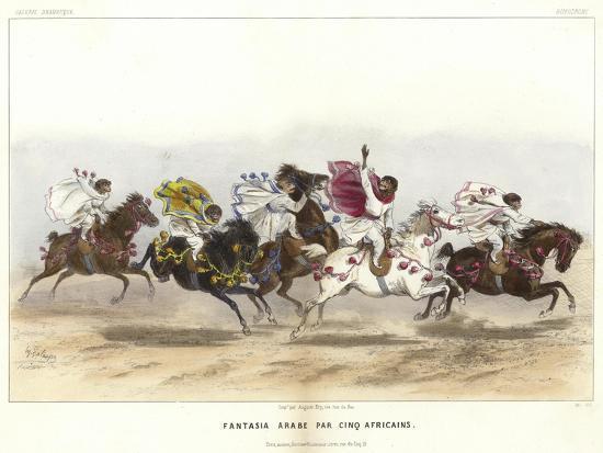 Five Costumed Monkeys on Horseback--Giclee Print