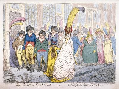 Five Fashionably Dressed Men Advance Along Old Bond Street, Westminster, London, 1796-James Gillray-Giclee Print