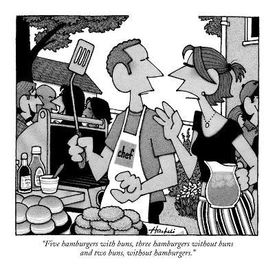 """Five hamburgers with buns, three hamburgers without buns and two buns, wi?"" - New Yorker Cartoon-William Haefeli-Premium Giclee Print"