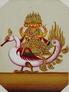 Five Headed Brahma on a Goose, India