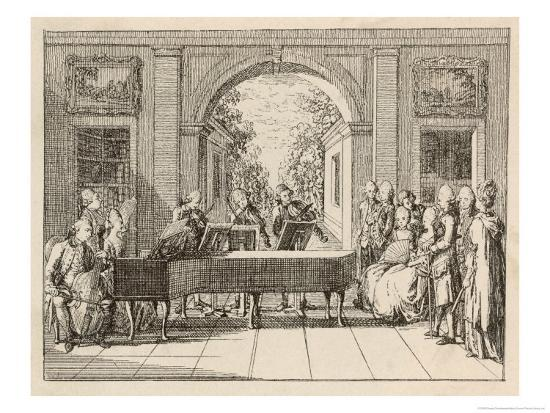 Five Instrumental Performers and a Singer Entertain an Aristocratic Audience in a Stately Home-Daniel Chodowiecki-Giclee Print