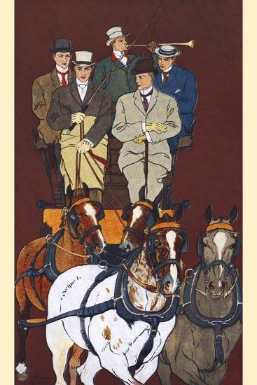 Five Men Riding in a Carriage Drawn by Four Horses-Edward Penfield-Art Print
