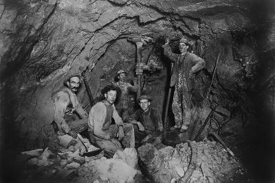 Five Miners in Last Chance Company Lead Mine, in the Coeur D'Alene Region of Idaho, Ca, 1910--Photo