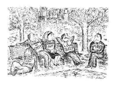 """Five people sitting, lethargically, in a park. All have T-shirts on with s?"""" - New Yorker Cartoon-Edward Koren-Premium Giclee Print"""