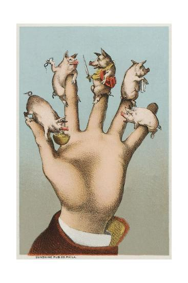 Five Pigs on Five Fingers--Giclee Print