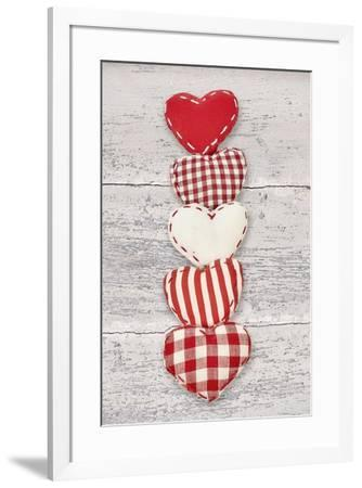 Five Red and White Fabric Hearts-Cora Niele-Framed Giclee Print