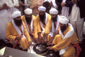 Five Sikh Men Symbolising the Original Five Holy Ones at the Initiation Ceremony of the Khalsa in…