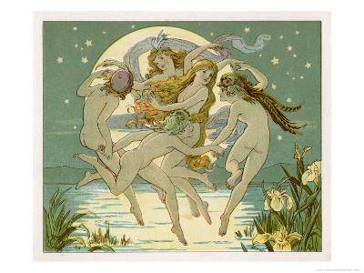 Five Sky-Clad Fairies Dance in the Air Above a Lake-Emily Gertrude Thomson-Giclee Print